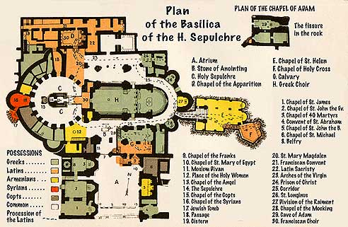 Jerusalem Church of the Holy Sepulcre Possession Map